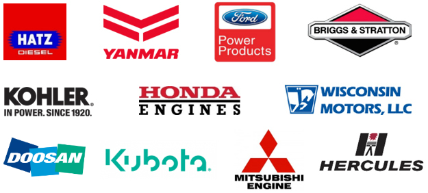 Logos collage image of small industrial engine parts brands