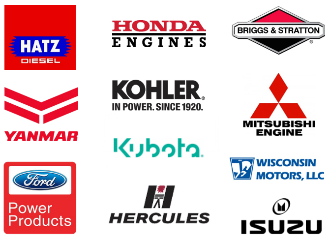 Small diesel or gas engines manufacturers' logos